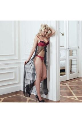 Picture of Kadın Bordo Tül Pelerinli Dantelli Balenli Destekli Sütyen String Takım