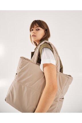 Shule Bags Kabartmalı Puf Kumaş Shopper Çanta Napoli Krem 0