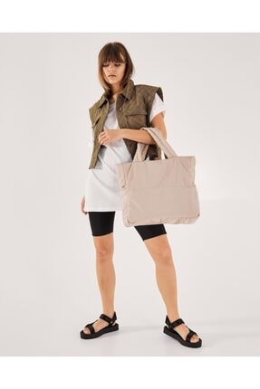 Shule Bags Kabartmalı Puf Kumaş Shopper Çanta Napoli Krem 3