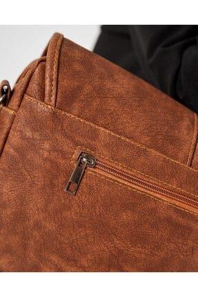 Shule Bags Nubuk Kumaş Kadın Postacı Çanta Lina Taba 4