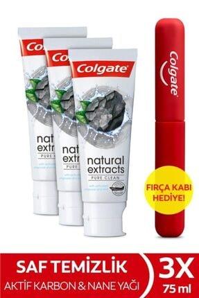 Colgate Natural Extracts Aktif Karbon Ve Nane Saf Temizlik Diş Macunu 75 Ml X 3 Adet + Fırça Kabı He 0