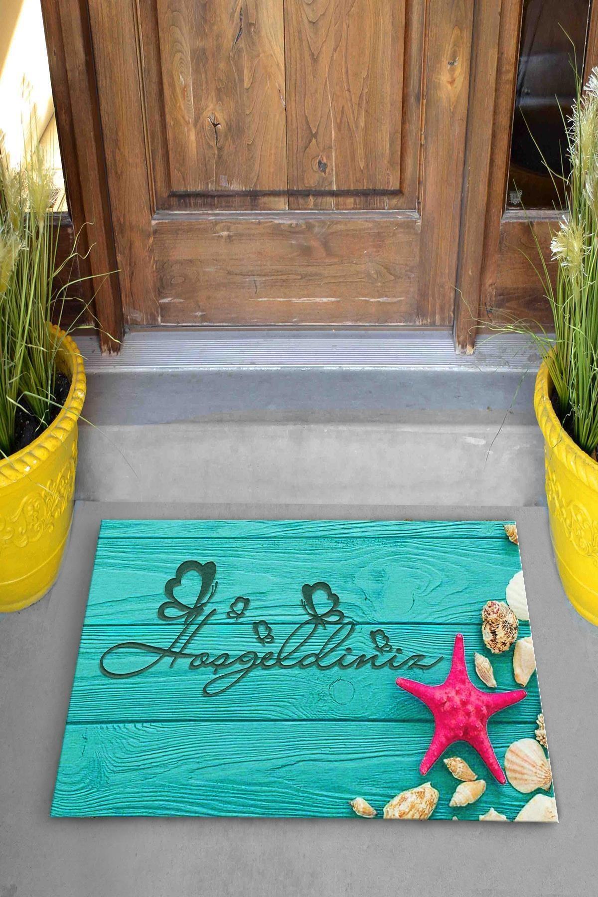 Hoşgeldiniz Deniz Yıldızı Dekoratif Kapı Önü Paspası