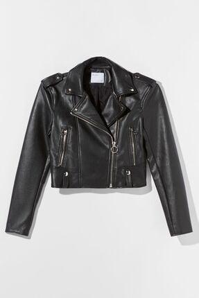 Bershka Kadın Siyah Suni Deri Biker Ceket 01219644 2