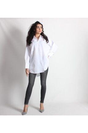 Kadın Beyaz Oversize Pamuklu Gömlek PEMBECEKETGÖMLEK0001