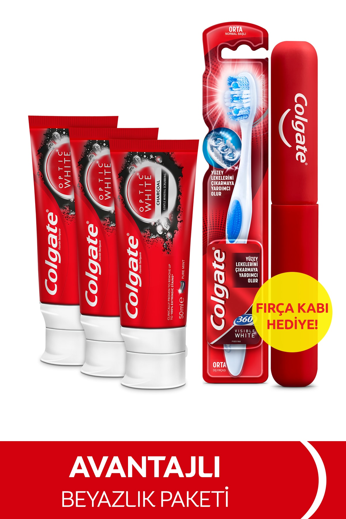 Optic White Beyazlatıcı Diş Macunu 50 ml x3 360 Orta Diş Fırçası + Fırça Kabı Hediye