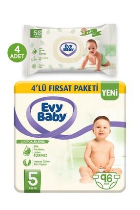 Evy Baby Bebek Bezi 5 Beden Junior 96 Adet Ve 4 Paket Islak Hvl 0
