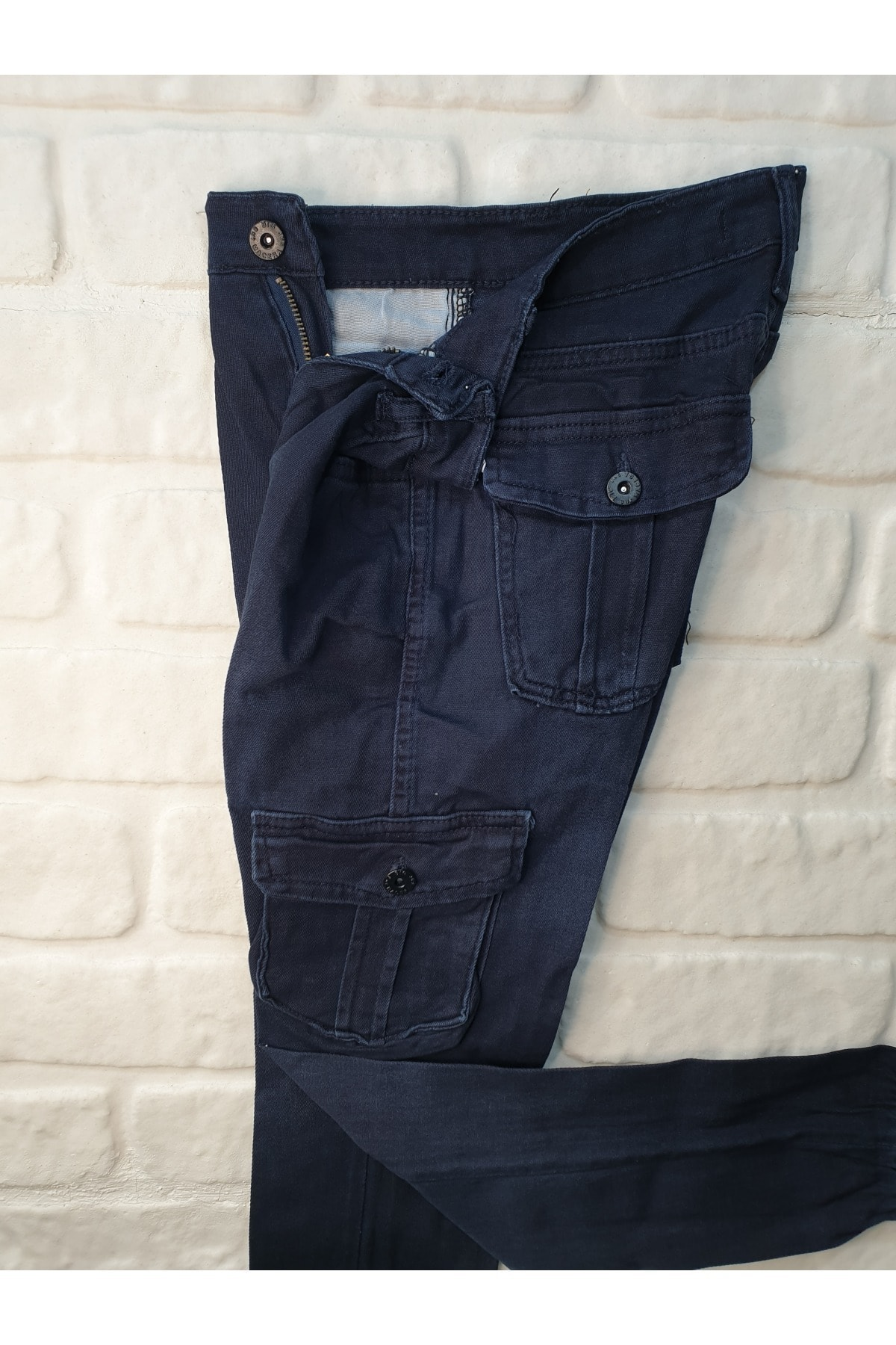 ÜN-KO Unisex Çocuk Mavi  Kargo Cepli Likralı Pantolon