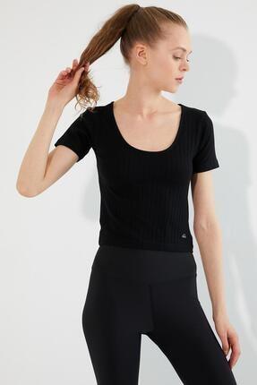 Polo State Kadın U Yaka T-shirt Siyah 2