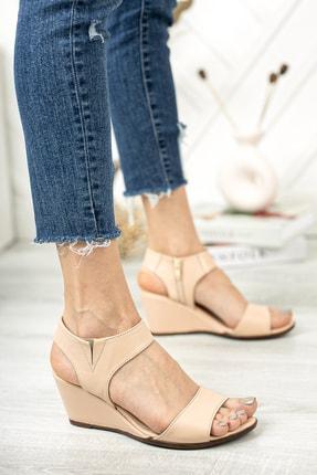 Deripabuc Hakiki Deri Bej Kadın Dolgu Topuklu Deri Sandalet Dp38-1130 2
