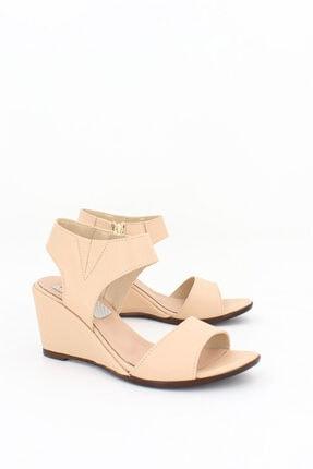 Deripabuc Hakiki Deri Bej Kadın Dolgu Topuklu Deri Sandalet Dp38-1130 3