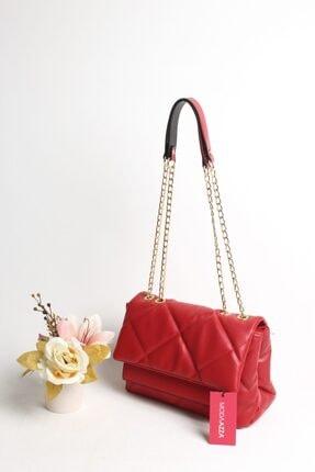 Moda azza Kadın Kırmızı Zincir Askılı Omuz Çantası 1
