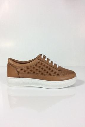 Kadın Taba Hakiki Deri Sneaker Ayakkabı TDYSNK