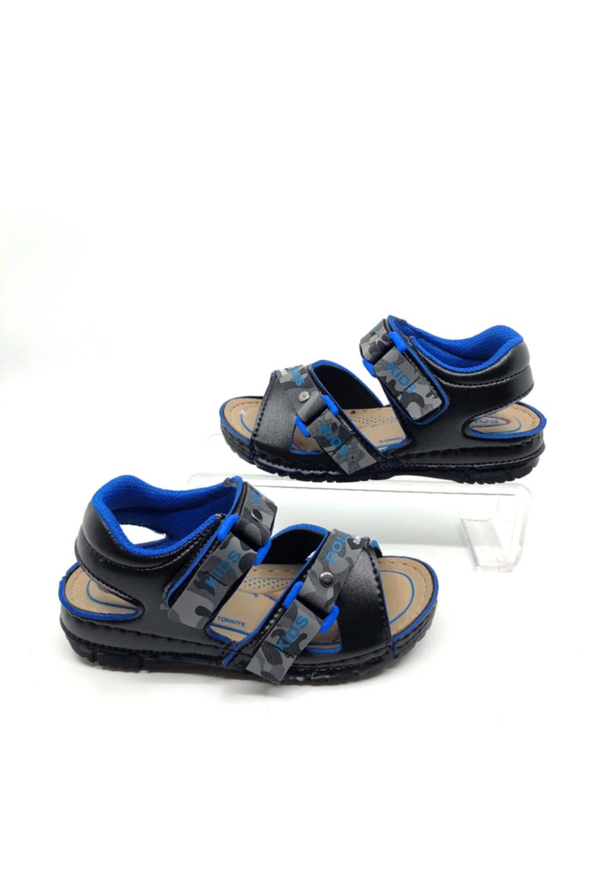 Erkek Çocuk Siyah Saks Cırtlı Yumuşak  Sandalet 22-35