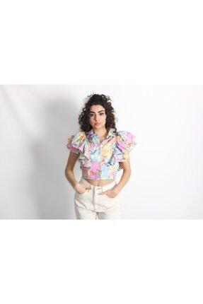 Kadın Pembe Fırfırlı Desenli Mini Gömlek PEMBECEKETMİNİGÖMLEK000001