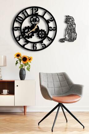 LUPOKRAFT Dekoratif Siyah Duvar Saati 50 x 50 cm ve Kedili Tablo 1