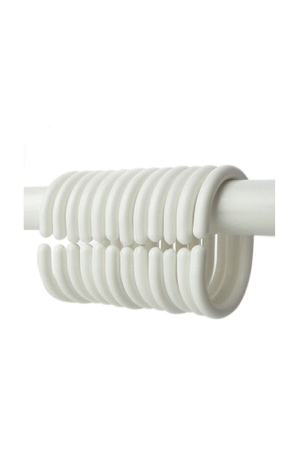Banyo Duş Perde Halkası Kancası 24 Adet