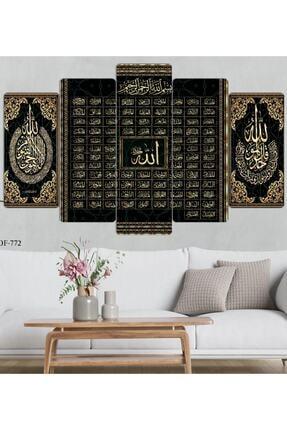 hanhomeart Esma-ül Hüsna Allah 99 Ismi-parçalı Ahşap Duvar Tablo Seti 1