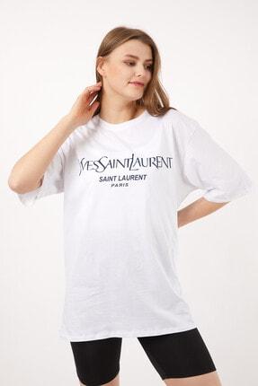 Kadın Beyaz Saint Laurent T-shirt PLN-0020