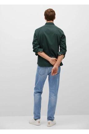 Mango Erkek Haki Düz Kesimli Kalıplı Pamuklu Gömlek 3