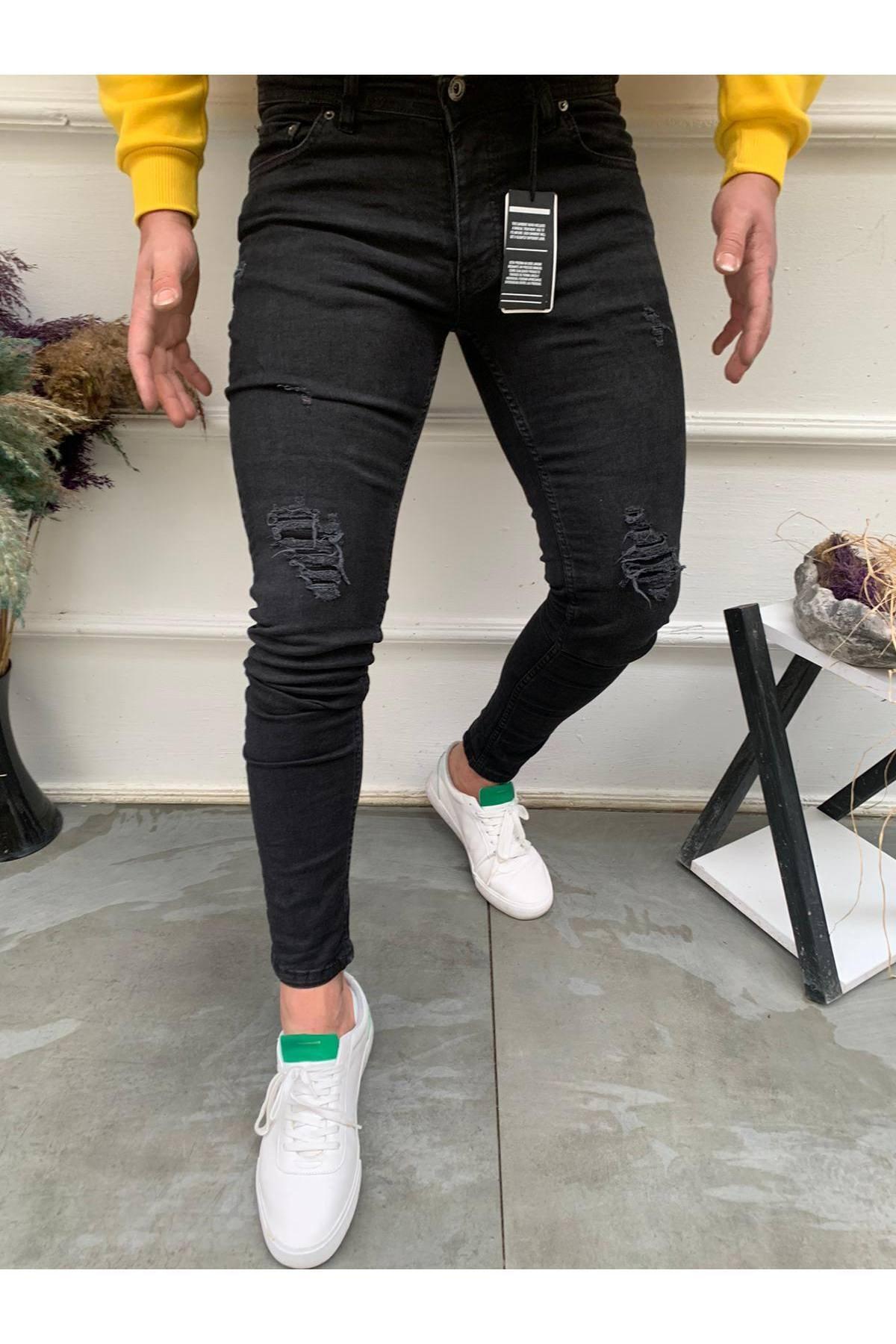 Erkek Siyah Slim Fit Destroylu Jean
