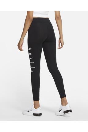 Nike Sportswear Swoosh Yüksek Belli Siyah Tayt 1