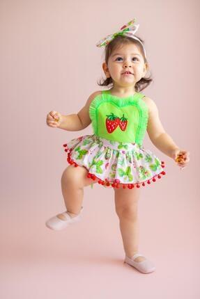 Picture of Kız Bebek Yeşil Pretty Strawberry Tulum