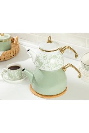 English Home Dande Emaye Çaydanlık 1,1 Litre + 2,3 Litre Beyaz - Yeşil 1