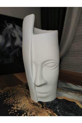 El Emeği Göz Nuru Tek Yüz Vazo Büyük Boy Beyaz Ham Rengi, Verniksiz 2