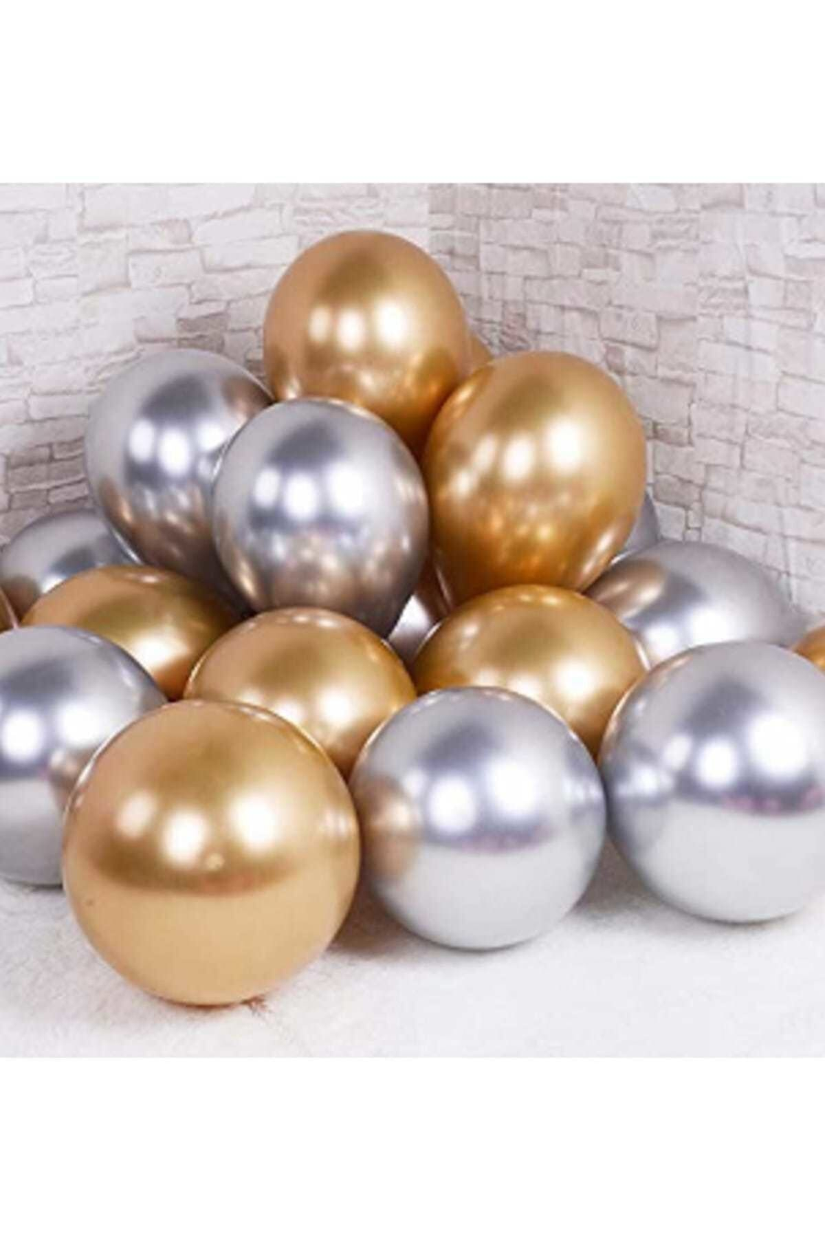 Krom Parlak Metalik Gümüş-gold ( Altın) Renk 10'lu Balon