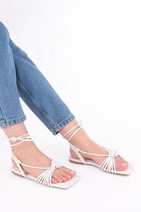Marjin Kadın Beyaz İpli Sandalet 4