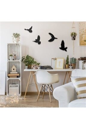 DemStudio Dekoratif Ahşap Modern Dörtlü Kuş Duvar Süsü Duvar Dekor 3