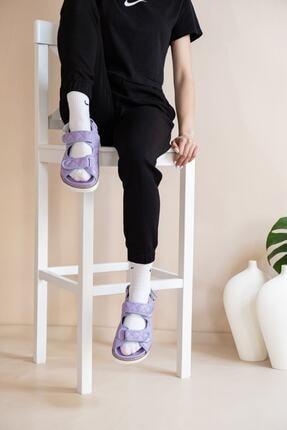 demiriz ayakkabı Kadın Lila Kapitone Desen Sandalet 1