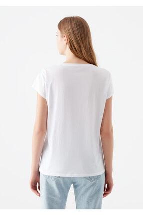 Mavi Kelebek Baskılı Beyaz Tişört 3