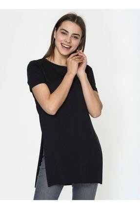 IŞILDA Kadın Siyah  Yanları Yırtmaçlı Kısa Kol Basic Tshirt 2