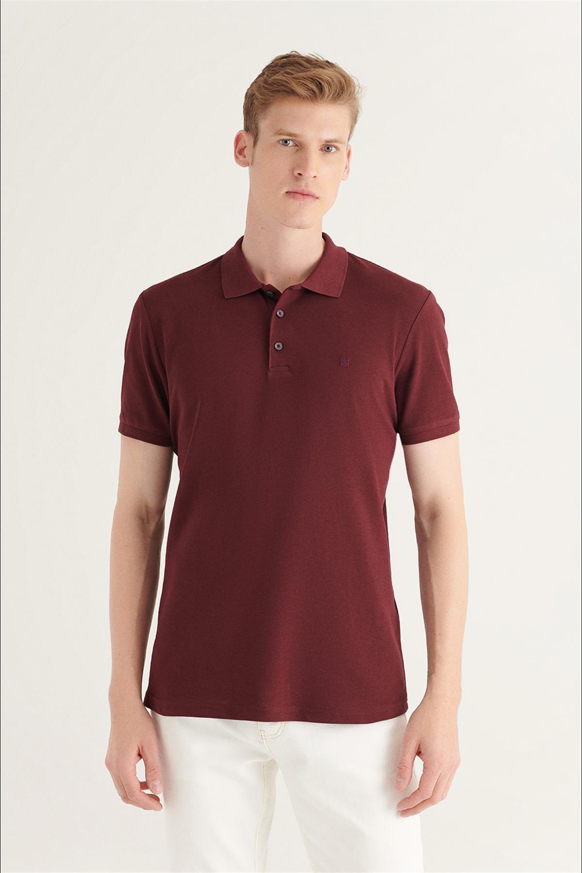 Erkek Koyu Bordo Polo Yaka Düz T-shirt E001004