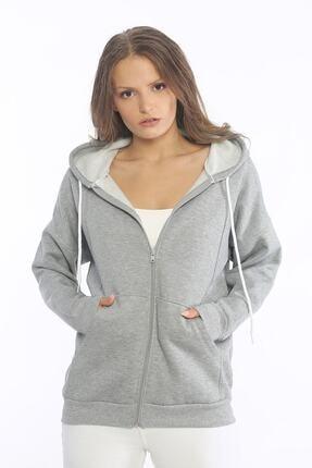 Be Happy Woman Kadın Gri Cepli Fermuarlı Sweatshirt 0