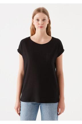 Mavi Cepli Siyah Basic Tişört 2