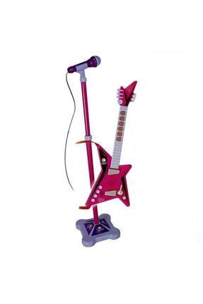 Sunman Karaoke Ayaklı Mikrofonlu Pembe Gitar 1