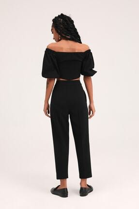 Quzu Kadın  Siyah Zincir Aksesuarlı Yüksel Bel Pantolon 4