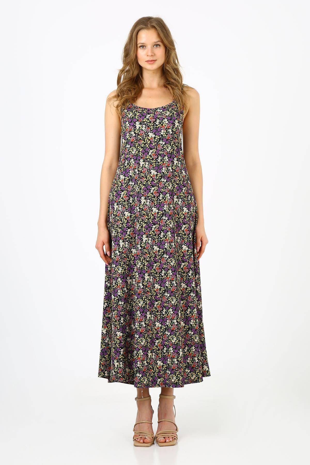 Kadın Mor Çiçekli Askılı Uzun Elbise