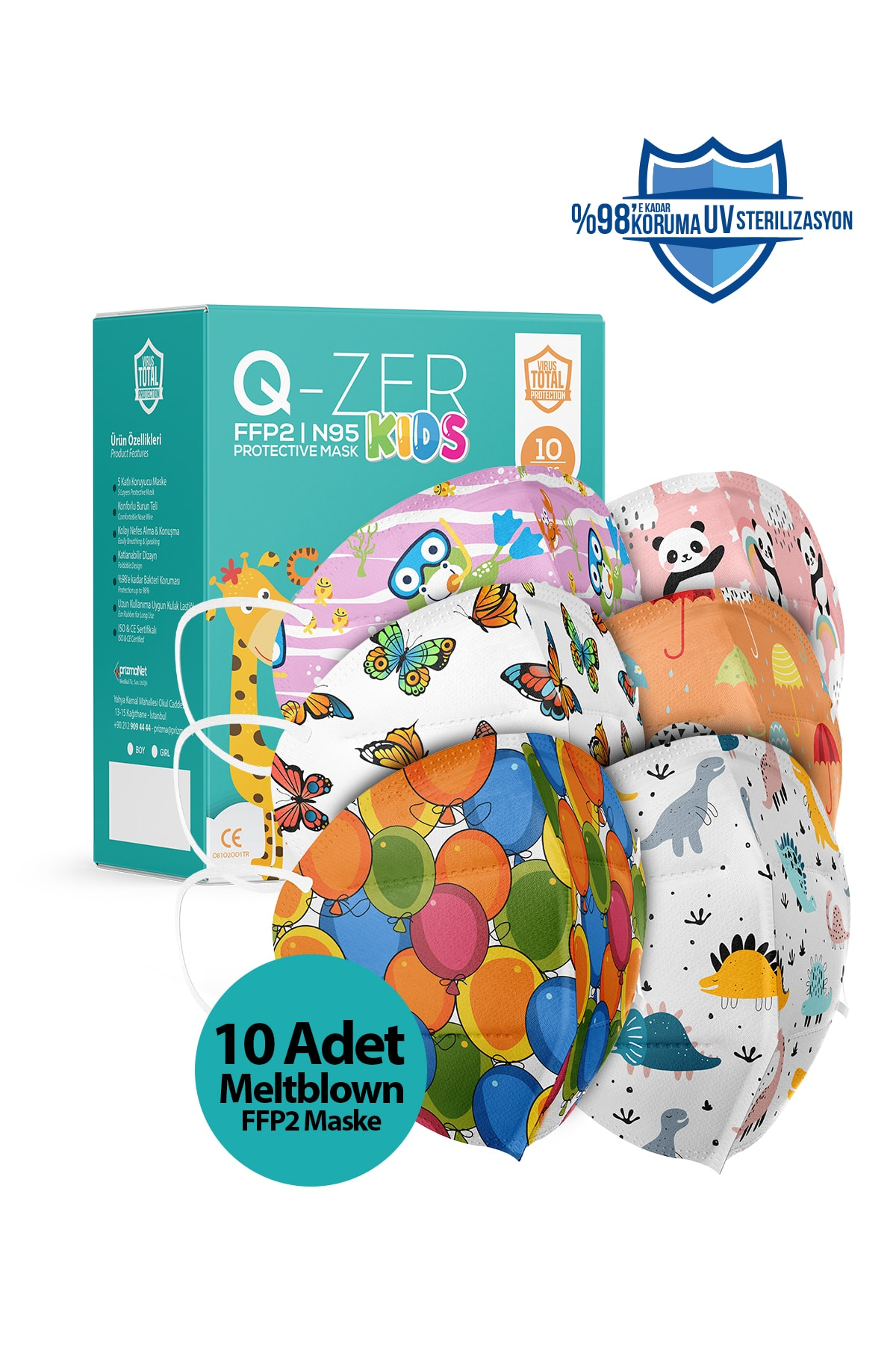 Qzer 5 Farklı Desenli Kız Çocuk Ffp2 Maske 10 Adet