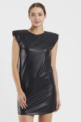 Sateen Kadın Siyah Vatkalı Elbise 2