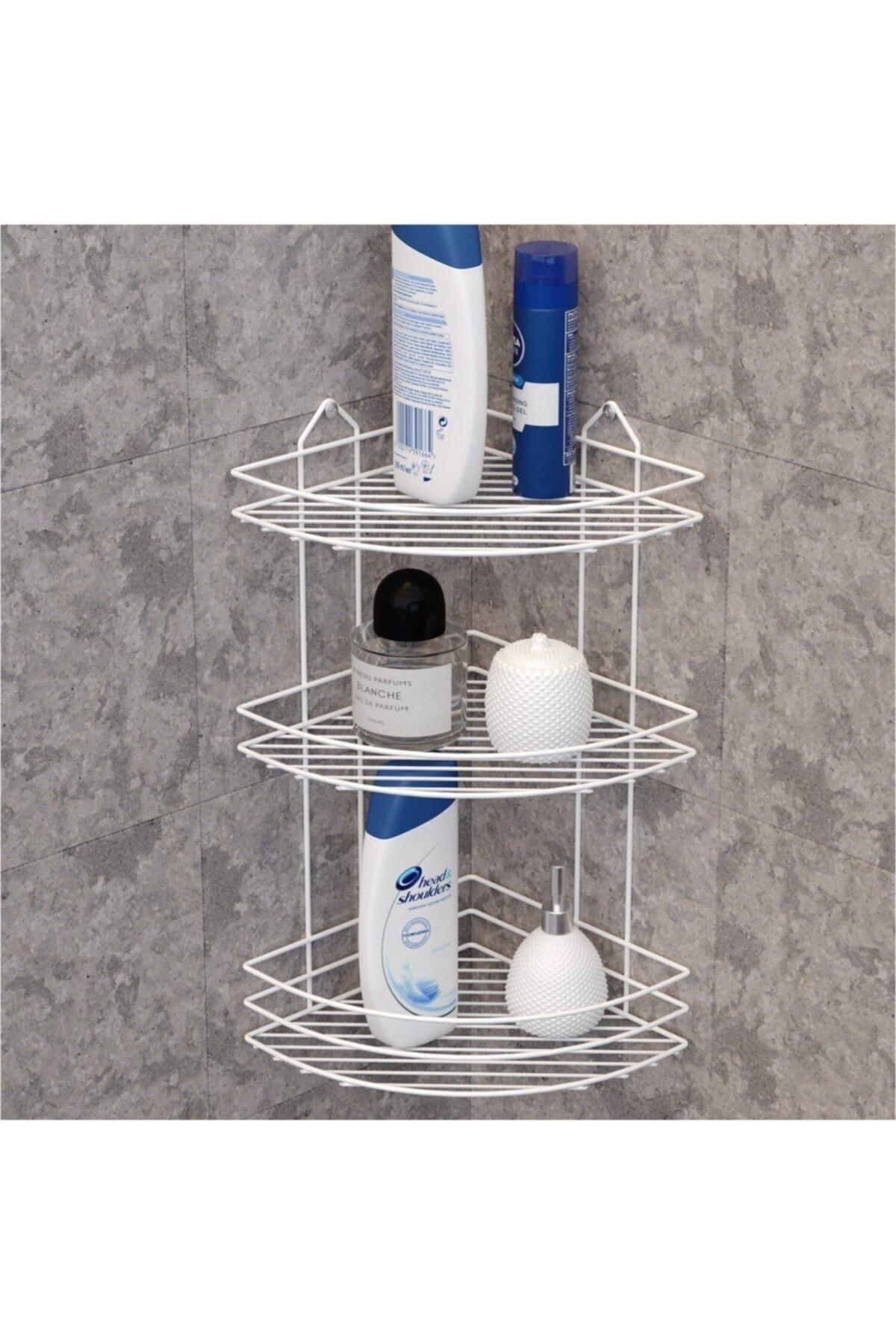 Ömür Boyu Paslanmaz 3 Katlı Köşe Süngerlik Duş Rafı Sabunluk Şampuanlık Lif Askısı Beyaz Ek-03