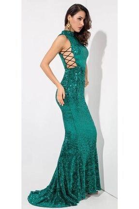 Kadın Zümrüt Yeşili Elbise 36