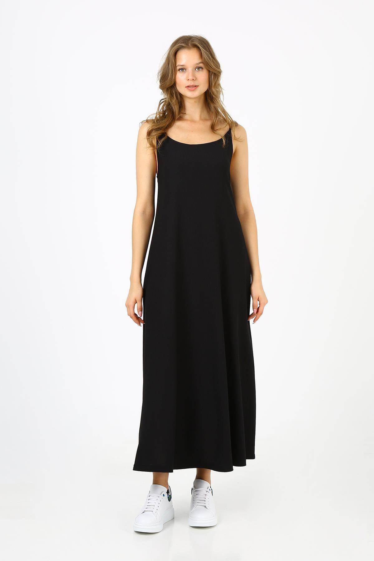 Kadın Askılı Uzun Elbise (b21-4210)