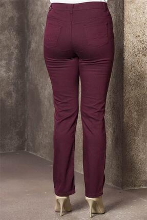 Rmg Kadın Bordo Kanvas Yüksek Bel Düz Paça Pantolon Rg1029p 3