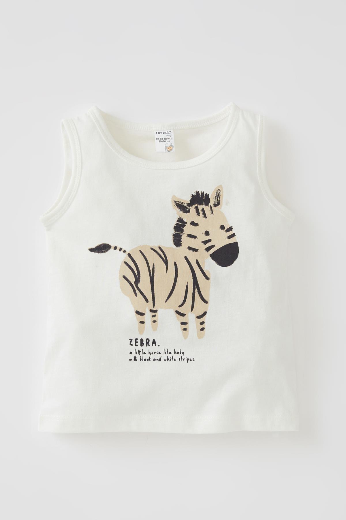 Erkek Bebek Beyaz Zebra Baskılı Pamuklu Atlet
