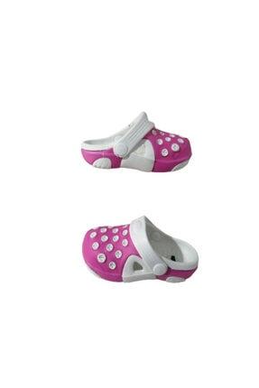 Picture of Ak1987-010 Kız Bebek Beyaz Fuşya Çift Taban Günlük Yürüyüş Sandalet Terlik
