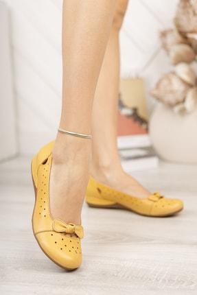 Deripabuc Hakiki Deri Sarı Kadın Deri Babet Trc-2824 3