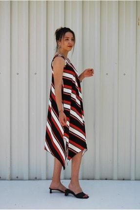 MGS LİFE Kadın Kırmızı Siyah Çapraz Çizgili Toka Detaylı Asimetrik Kesim Elbise 2